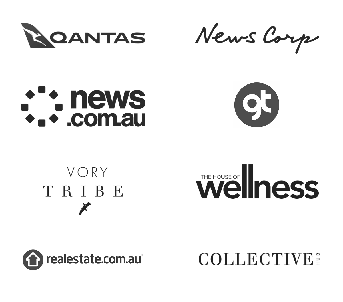 Logos of publications Jenna has been featured in, including; Qantas, News Corp, News.com.au, GT Mag, Ivory Tribe, House of Wellness, Realestate.com.au and Collective Hub